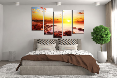 5 piece canvas wall art, yellow wall decor, ocean canvas print, bedroom huge canvas art