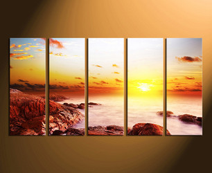 5 piece canvas wall art,  sunrise wall decor, rock canvas print, sea huge canvas print, ocean multi panel art