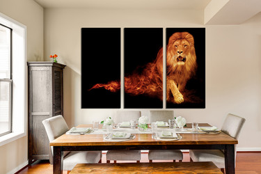 3 piece photo canvas, dining room canvas wall art, lion multi panel art, wildlife photo canvas, animal art
