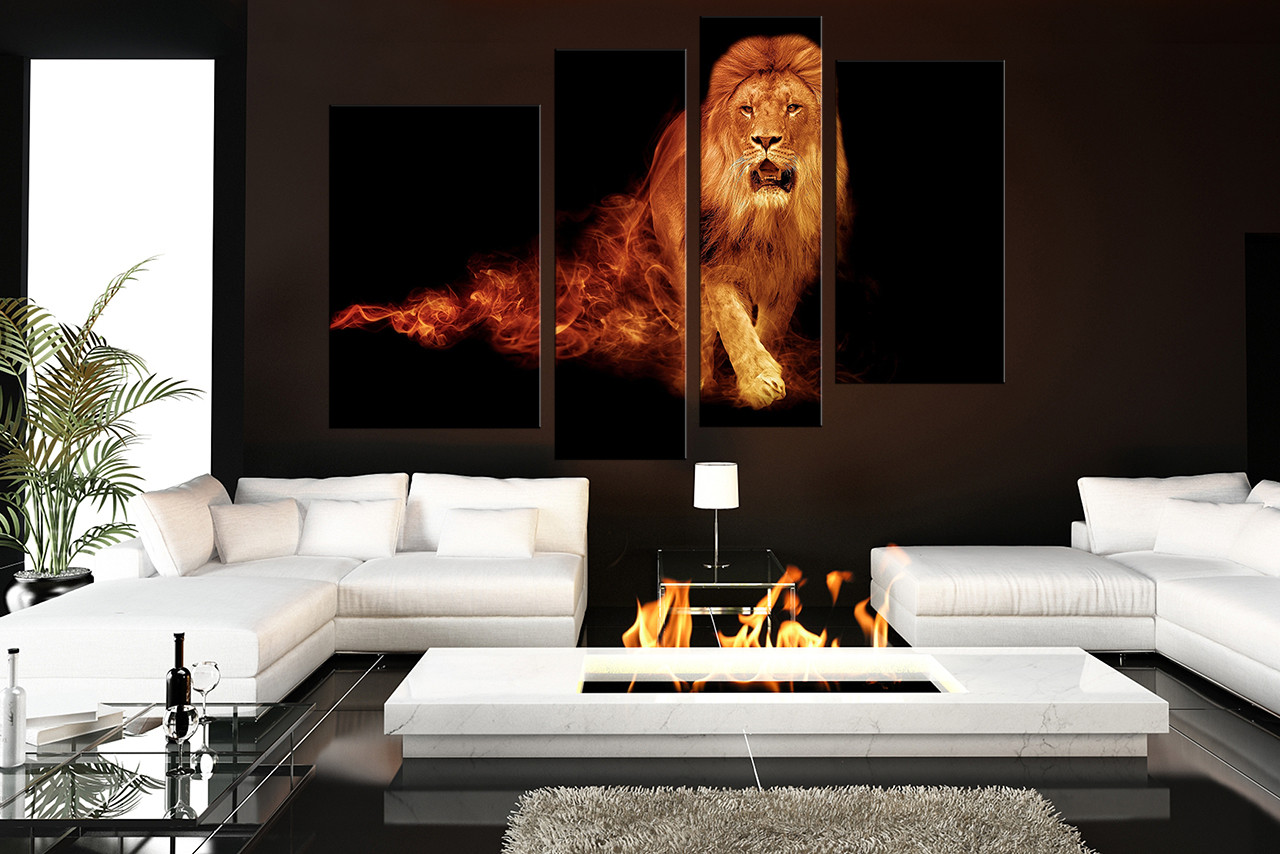 4 piece group canvas lion canvas wall art orange huge canvas print wildlife large pictures animal canvas photography