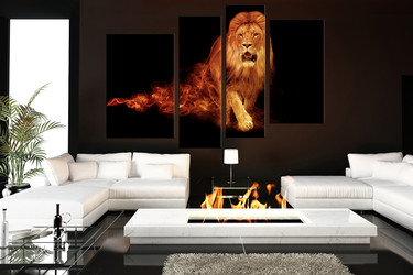 4 piece canvas wall art, living room huge pictures, lion multi panel art, wildlife group canvas, animal canvas photography