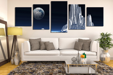 5 piece canvas art prints, living room multi panel canvas, landscape photo canvas, white multi panel art, earth large pictures, panoramic large pictures