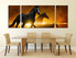 3 piece photo canvas, dining room wall decor, black horse group canvas, panoramic canvas wall art, wildlife large pictures, animal art