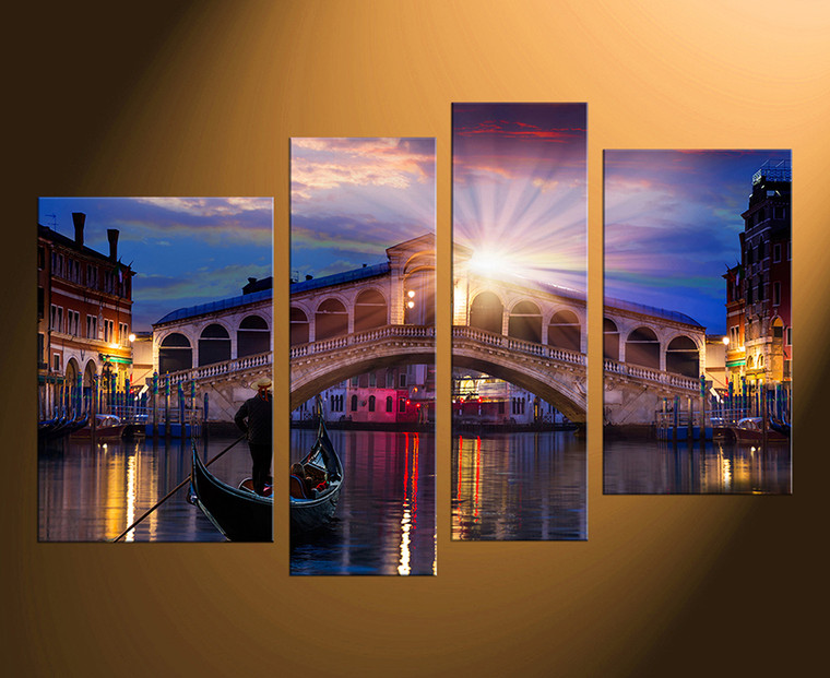 4 piece canvas wall art, sunrise wall art, bridge wall decor, city huge canvas print, city home decor