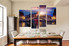 4 piece huge pictures, dining room canvas wall art, sunrise group canvas, city canvas print, blue artwork