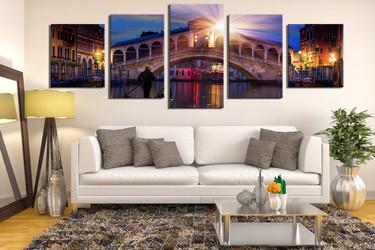 5 piece canvas wall art, sunrise wall art, living room wall decor, city canvas print, blue art