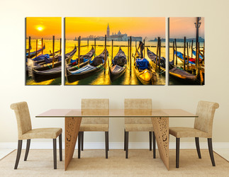 Superieur 3 Piece Huge Canvas Art, Panoramic Photo Canvas, Cityscape Wall Decor,  Yellow Wall Art, Ocean Canvas Photography, Boat Large Pictures