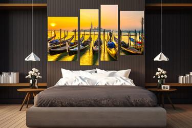 4 piece canvas wall art, bedroom wall art, city canvas print, sunrise huge canvas print, ocean group canvas