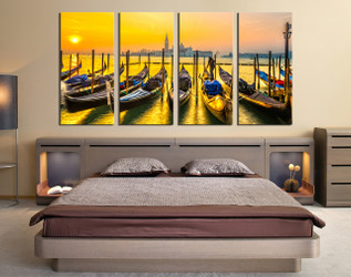 4 piece large canvas, bedroom huge canvas art, sunrise canvas photography, city huge pictures