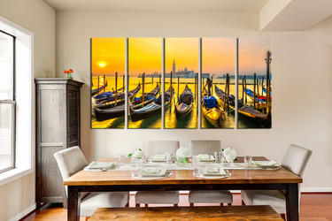 5 piece multi panel canvas, ocean photo canvas, gondola large pictures, dining room large canvas