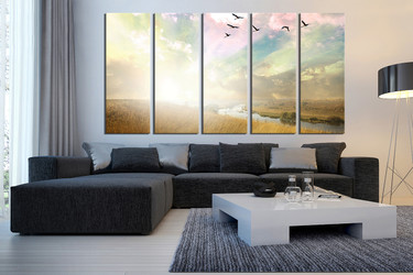 5 piece huge pictures, scenery canvas photography, birds group canvas, nature canvas wall art, scenery huge canvas print, living room decor