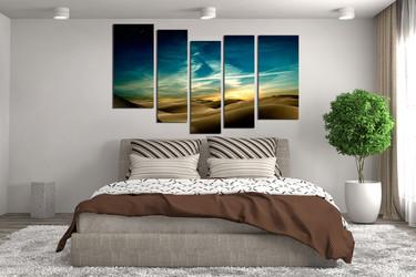 5 piece canvas wall art, bedroom canvas print, landscape artwork, green huge canvas print, desert art, sky multi panel canvas
