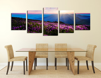 5 piece canvas art prints, dining room photo canvas, landscape large canvas, purple canvas wall art, sunset art, panoramic huge canvas print