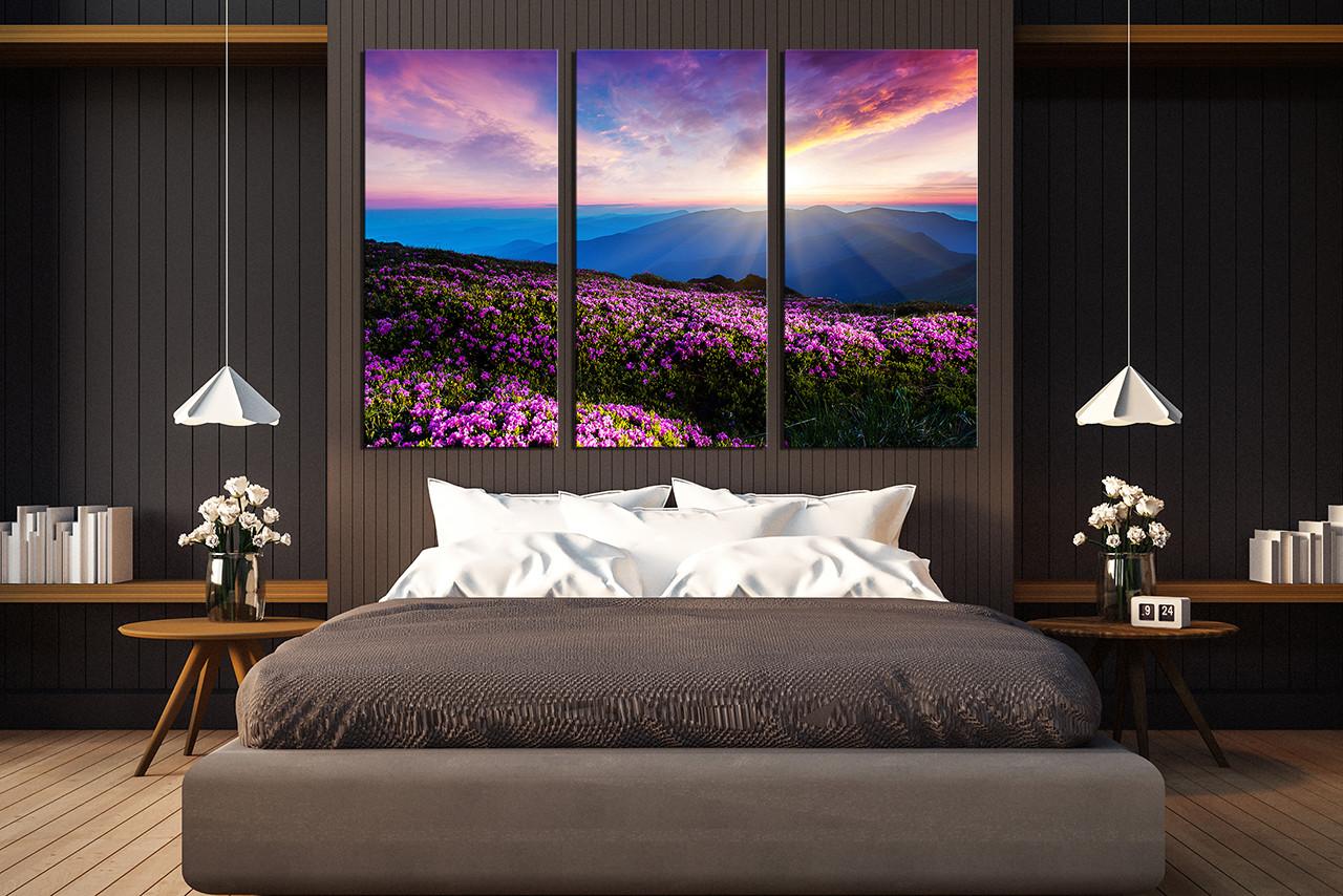 3 Piece Canvas Wall Art, Landscape Wall Decor, Purple Huge Canvas Print,  Sunset Multi Panel Canvas, Floral Large Pictures