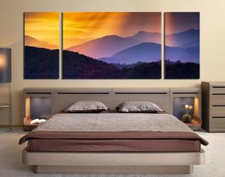 3 piece artwork, bedroom art, orange multi panel canvas, mountain canvas art prints, panoramic canvas wall art