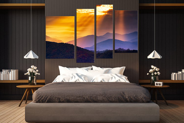 4 piece art, bedroom canvas photography, landscape huge canvas art, orange group canvas, mountain large pictures