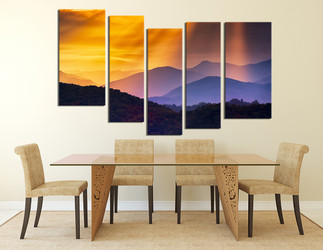 5 piece group canvas, dining room art, landscape canvas print, orange wall art, mountain canvas photography