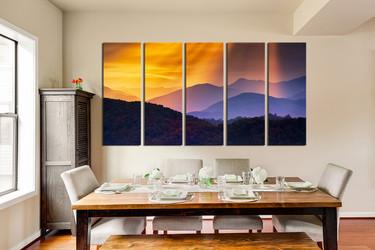 5 piece canvas print, dining room photo canvas, landscape canvas art prints, orange artwork, mountain huge canvas art