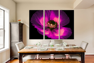 3 piece canvas photography, dining room multi panel canvas, purple floral, flower photo canvas