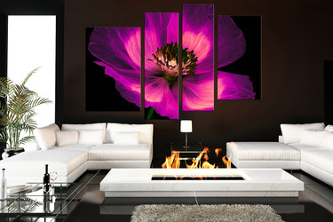 4 piece group canvas, living room large canvas, purple photo canvas, floral artwork, floral purple canvas print