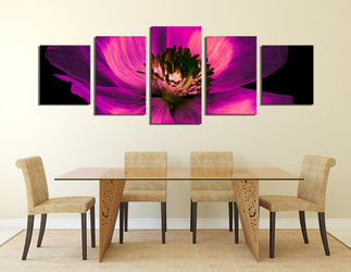 5 piece huge canvas art, dining room canvas photography, purple floral multi panel art, flower canvas art print