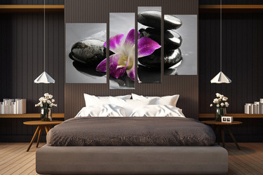 4 piece large canvas, bedroom group canvas, floral group canvas, orchid art, purple orchid artwork