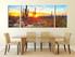 3 piece canvas photography, dining room photo canvas, scenery huge canvas art, saguaro cactus wall art, sunrise canvas print, panoramic multi panel art
