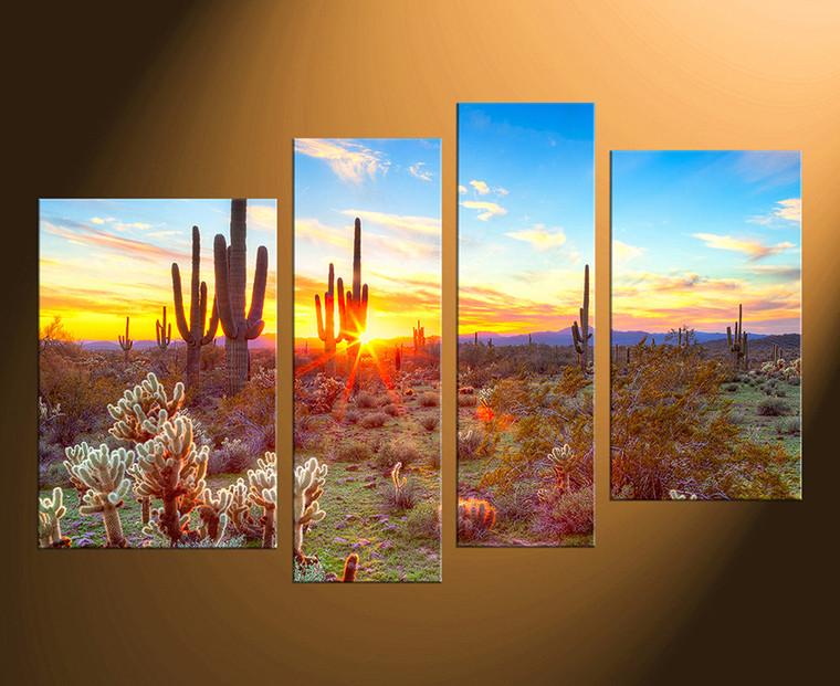 4 piece canvas wall art, home decor, scenery huge pictures, saguaro cactus photo canvas, sunrise artwork, nature wall decor
