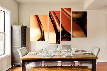 4 piece canvas print, dining room multi panel art, wine huge pictures, orange wall decor, wine canvas photography