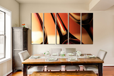 5 piece group canvas, dining room multi panel canvas, wine canvas wall art, wine glass huge pictures