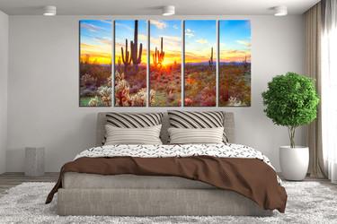 5 piece multi panel canvas, bedroom canvas art prints, scenery photo canvas, saguaro cactus huge canvas art, sunrise wall decor
