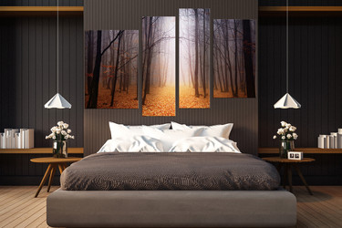 4 piece wall decor, bedroom multi panel canvas, scenery art, orange group canvas, autumn canvas photography