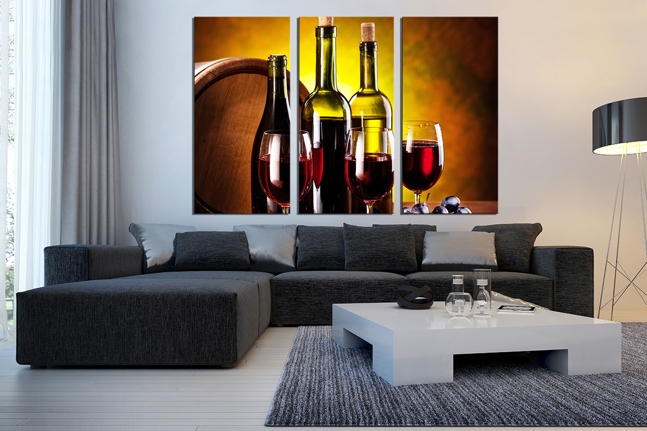 3 Piece Canvas Wall Art Wine Huge Canvas Print Red Canvas