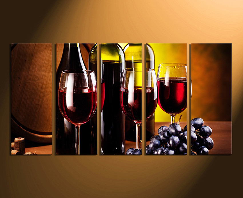 5 Piece Multi Panel Art Wine Canvas Photography Wine Glass Huge