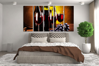 5 piece wall art, bedroom multi panel canvas, wine canvas print, wine artwork, grapes group canvas