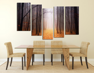5 piece canvas art prints, dining room large canvas, scenery wall art, orange artwork, autumn huge canvas print, tree canvas photography