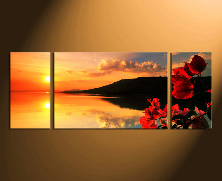 3 piece huge pictures, panoramic artwork, orange ocean canvas wall art, floral photo canvas, home decor