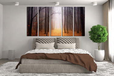 5 piece multi panel art, bedroom photo canvas, scenery multi panel canvas, orange canvas photography, autumn wall decor, tree canvas print
