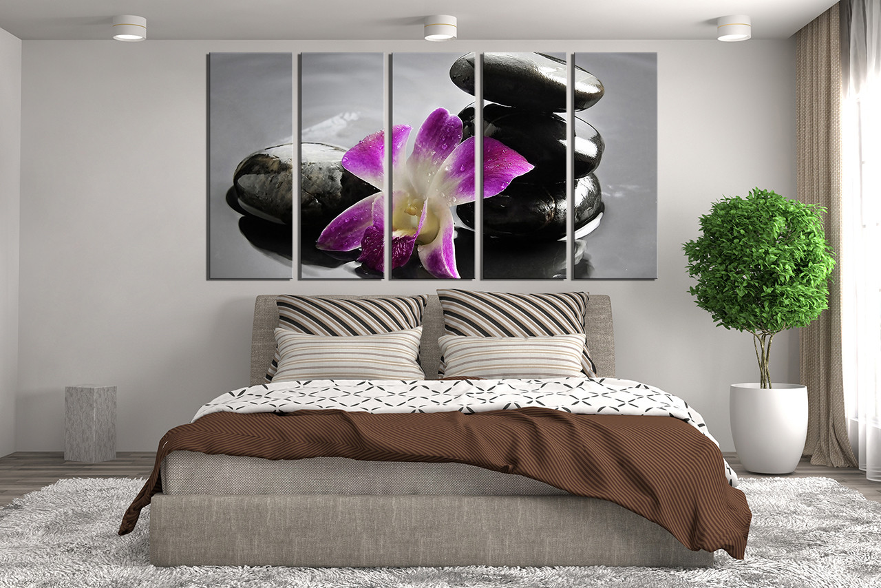 5 Piece Group Canvas, Pebble Wall Decor, Orchids Canvas Photography ...