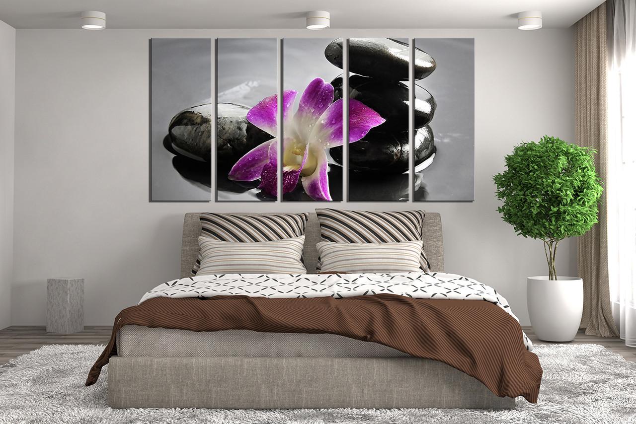 5 Piece Group Canvas, Pebble Wall Decor, Orchids Canvas Photography, Floral  Huge Canvas Art, Purple Flower Multi Panel Canvas