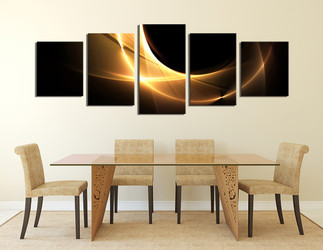 5 piece large canvas, dining room group canvas, abstract photo canvas, yellow abstract art, modern artwork