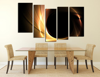 5 piece wall art, dining room wall art, yellow wall decor, modern canvas print, abstract huge canvas print