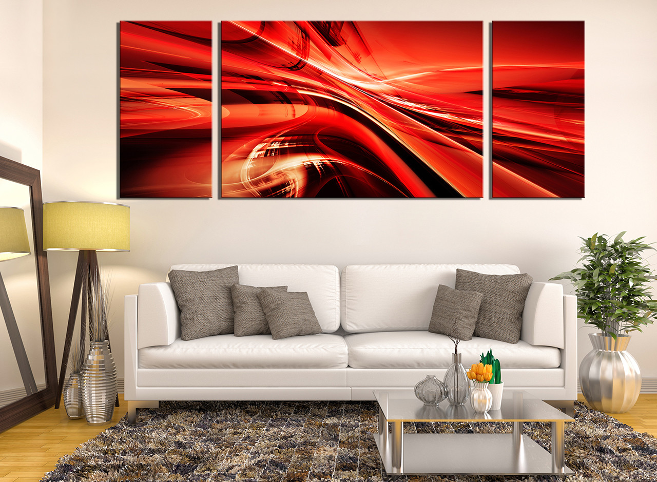 3 Piece Canvas Wall Art, Modern Multi Panel Canvas, Red Canvas Photography,  Abstract Canvas Art Prints, Panoramic Wall Decor