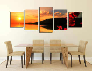5 piece canvas photography, dining room art, floral art, ocean panoramic photo canvas, ocean photo canvas