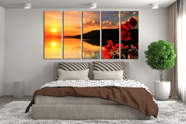 5 Piece Wall Art, bedroom decor, ocean orange huge pictures, floral multi panel canvas, ocean canvas wall art