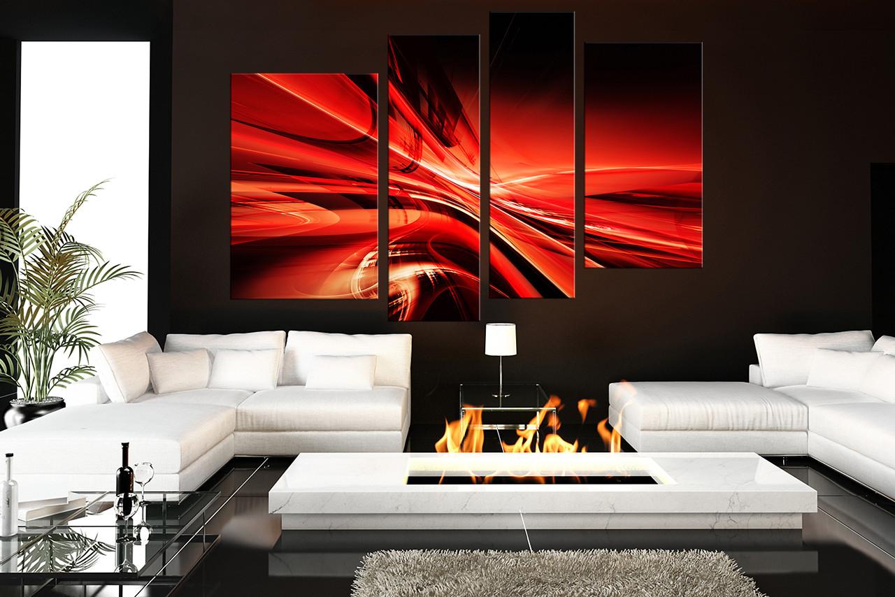 4 piece canvas wall art modern multi panel art red huge canvas print abstract canvas art prints
