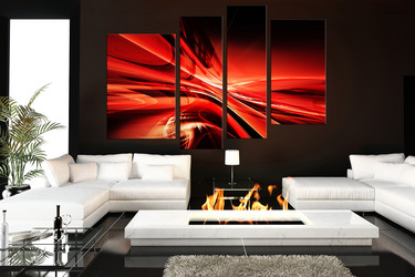 4 piece canvas wall art, living room wall art, red wall art, modern canvas print, abstract red huge canvas print