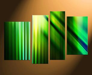 4 piece canvas wall art, green modern wall art, abstract wall decor, modern green canvas print, green artwork