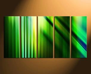 5 piece canvas wall art, green wall art, modern wall decor, green canvas print, modern home decor