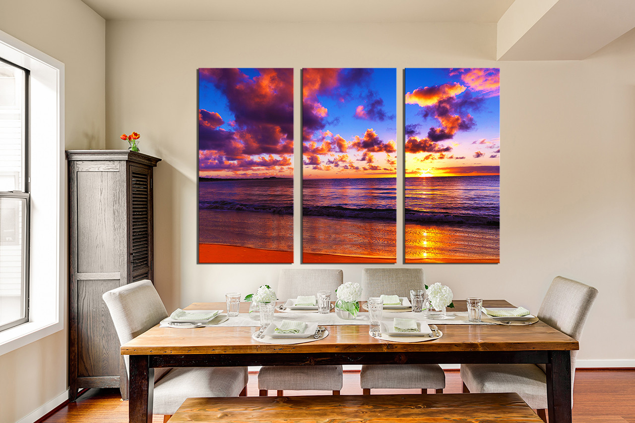 3 Piece Huge Pictures Dining Room Multi Panel Art Colorful Ocean Group Canvas